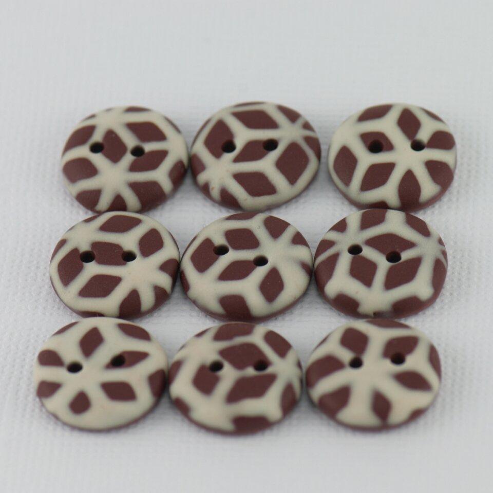 15 mm – 9 vnt. Pieniško ir balto šokolado spalvų raštuotos sagos