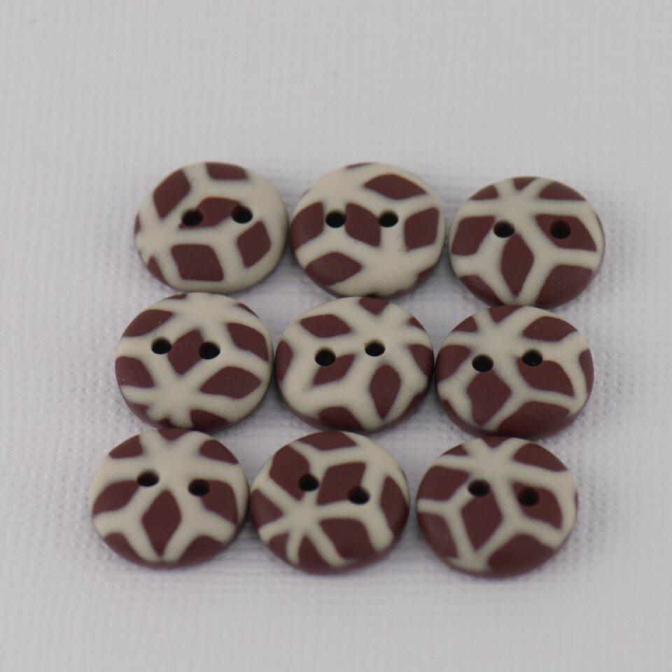 13 mm – 9 vnt. Pieniško ir balto šokolado spalvų raštuotos sagos