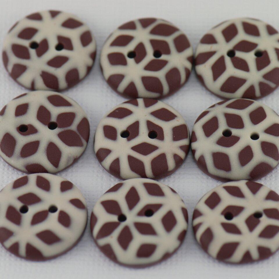18 mm – 9 vnt. Pieniško ir balto šokolado spalvų raštuotos rankų darbo sagos